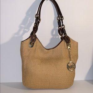 Michael Kors straw & leather tote shoulder bag